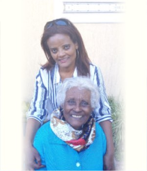 Mekdes Tilahun and her mother